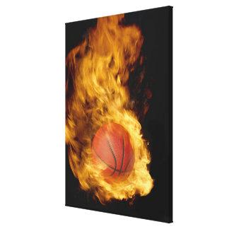 Basketball on fire (digital composite) canvas print