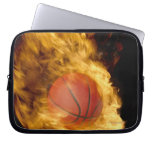 Basketball on fire (digital composite) computer sleeve