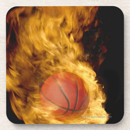 Basketball on fire (digital composite) beverage coasters