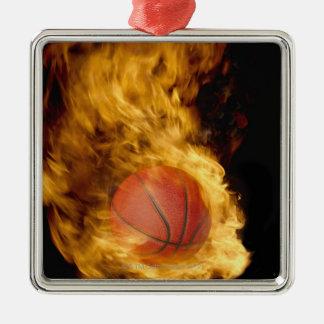 Basketball on fire (digital composite) metal ornament