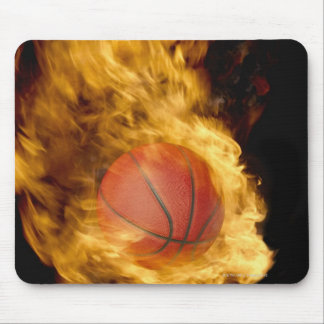 Basketball on fire (digital composite) mouse pad