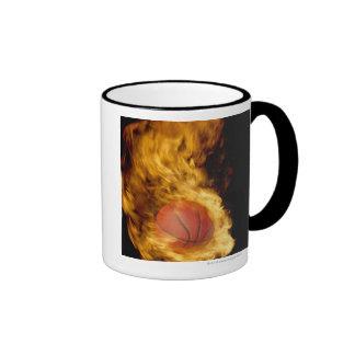 Basketball on fire (digital composite) ringer coffee mug