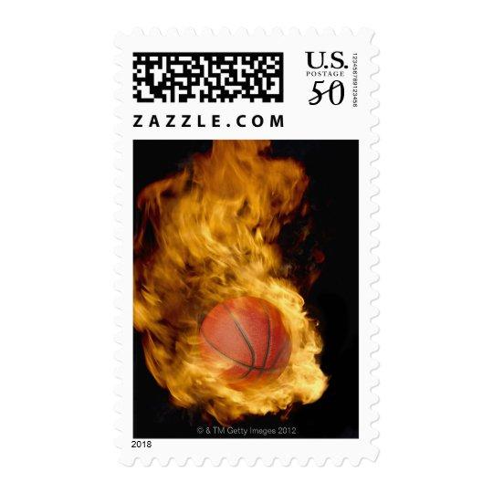 Basketball on fire (digital composite) postage