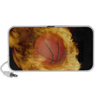 Basketball on fire (digital composite) mini speakers
