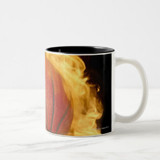Basketball on fire (digital composite) Two-Tone coffee mug