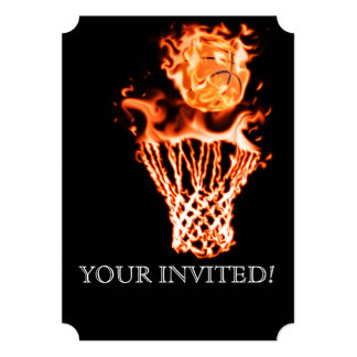 Basketball on fire going through the fire net 5x7 paper invitation card