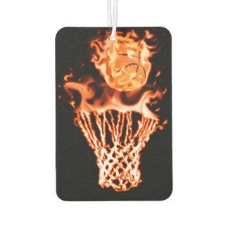 Basketball on fire going through the fire net air freshener