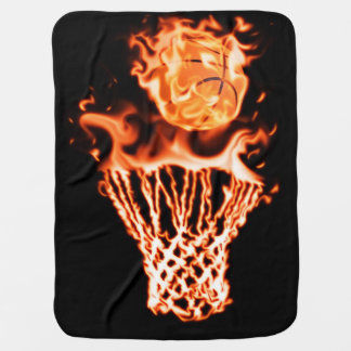 Basketball on fire going through the fire net baby blanket