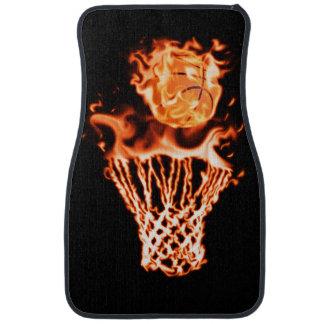 Basketball on fire going through the fire net car floor mat