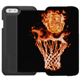 Basketball on fire going through the fire net iPhone 6/6s wallet case