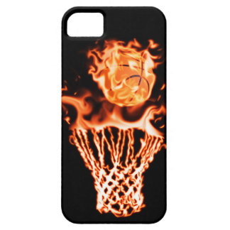 Basketball on fire going through the fire net iPhone SE/5/5s case