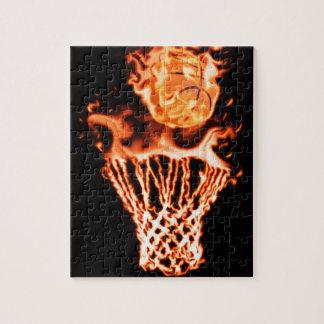 Basketball on fire going through the fire net jigsaw puzzle