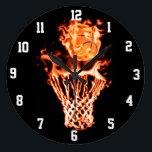 """Basketball on fire going through the fire net large clock<br><div class=""""desc"""">Basketball on fire going through the fire net</div>"""
