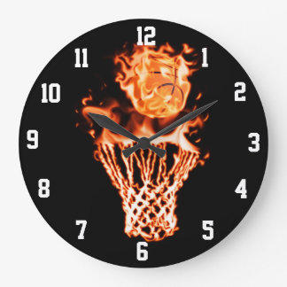 Basketball on fire going through the fire net large clock