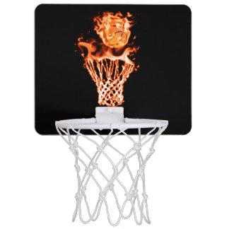 Basketball on fire going through the fire net mini basketball backboard