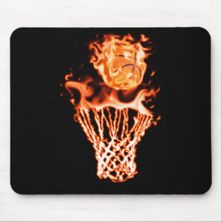 Basketball on fire going through the fire net mouse pad
