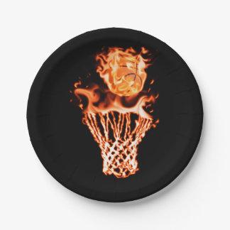 Basketball on fire going through the fire net paper plate