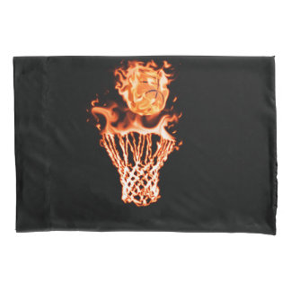 Basketball on fire going through the fire net pillowcase
