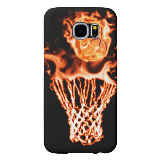 Basketball on fire going through the fire net samsung galaxy s6 case