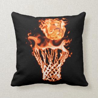 Basketball on fire going through the fire net throw pillow