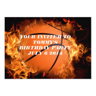 Basketball on fire 5x7 paper invitation card
