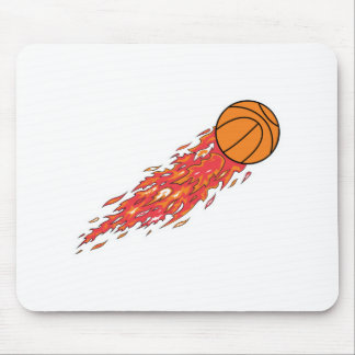 basketball on fire mouse pad