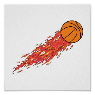 basketball on fire poster