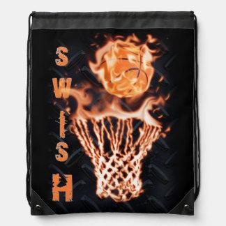 Basketball on fire swish it drawstring bag
