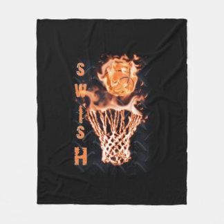 Basketball on fire swish it fleece blanket