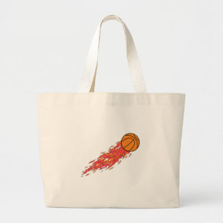 basketball on fire tote bags