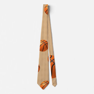 Basketball on hardwood neck tie