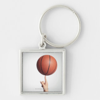 Basketball on index finger,hands close-up keychain