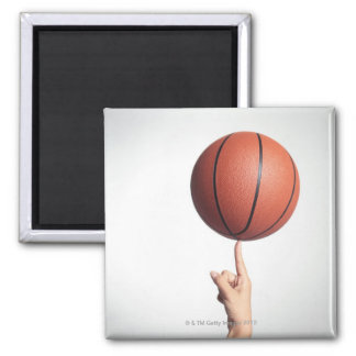 Basketball on index finger,hands close-up magnet