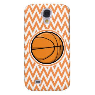 Basketball on Orange and White Chevron Samsung Galaxy S4 Cases
