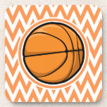 Basketball on Orange and White Chevron Beverage Coasters