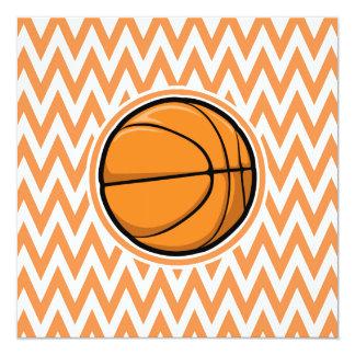 Basketball on Orange and White Chevron Personalized Invitation
