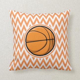 Basketball on Orange and White Chevron Pillows