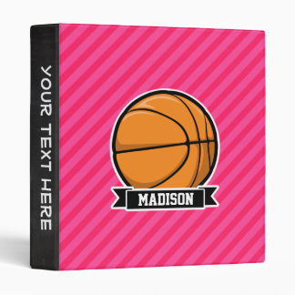 Basketball on Pink Stripes, Striped 3 Ring Binders