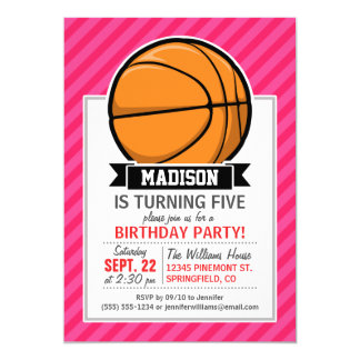 Basketball on Pink Stripes, Striped Card