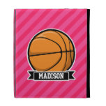 Basketball on Pink Stripes, Striped iPad Folio Case