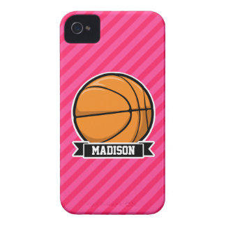 Basketball on Pink Stripes, Striped iPhone 4 Case-Mate Cases