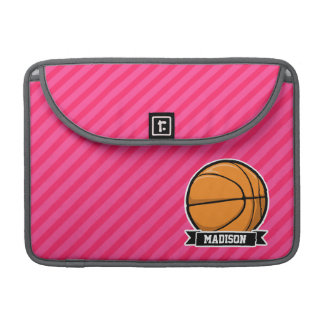 Basketball on Pink Stripes, Striped Sleeve For MacBooks