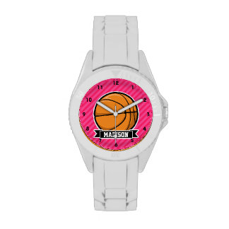 Basketball on Pink Stripes, Striped Wrist Watches