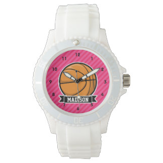 Basketball on Pink Stripes, Striped Watch