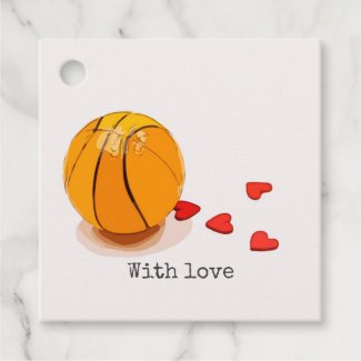 Basketball on red hearts with lots of love favor tags