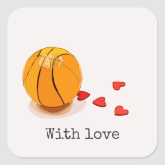 Basketball on red hearts with lots of love square sticker