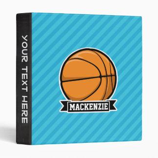 Basketball on Sky Blue Stripes 3 Ring Binders