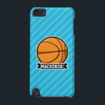 "Basketball on Sky Blue Stripes iPod Touch 5G Case<br><div class=""desc"">Cool basketball design on Sky Blue Stripes pattern.  Perfect gift for kids,  teens,  or adults! Personalized the design by adding a name or custom text.  Visit our store,  Birthday Party House,  for more great customizable products!</div>"