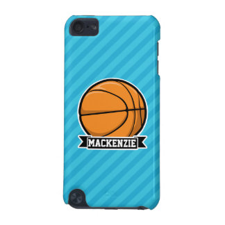 Basketball on Sky Blue Stripes iPod Touch 5G Case