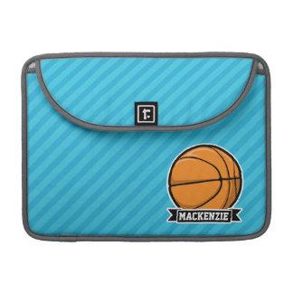 Basketball on Sky Blue Stripes Sleeve For MacBooks